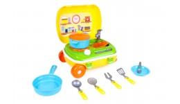 Кухня ТехноК 6078 з набором посуду у яскравій валізі  15 предм. 34 5х25х16 cм