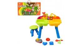 Стіл для гри з піском (з човником   пасочками і стільчиком ) 01-122