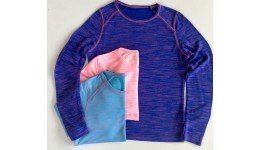КФ-388 Кофта  меланж з распошивом двухнитка бірюза+рожевий р 152 158 164