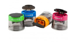 Точилка AXENT 1160 пластик  з контейнером  асорті кольорів (12шт.)