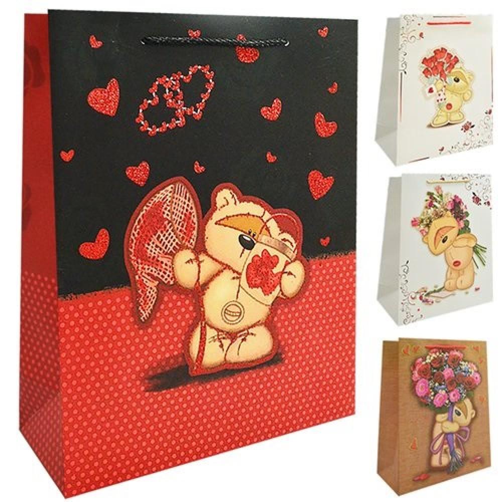 Пакет подарунковий дитячий S  Bear with bouquet  18 * 23 * 8см ST01611-S (12 шт в упаковці)