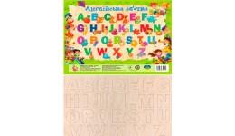 Англійська абетка на планшеті ВЕЛИКА + плакат у подарунок (дерево) (укр/англ) Джамбі
