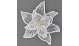 декоративна прикраса YES 750304 КВІТКА Пуансетії  Розкіш  біла  напівпроз. 23*23см (1)
