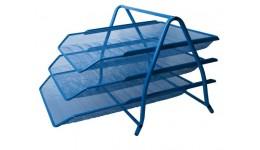 Лоток для паперів BUROMAX 6252-02 метал. 3в1 350*295*270мм СИНІЙ (1)