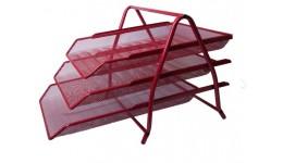 Лоток для паперів BUROMAX 6252-05 метал. 3в1 350*295*270мм ЧЕРВОНИЙ (1)