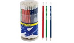 Олівці BUROMAX 8501-100 графітові з гумкою  HB шестигранні  в тубусі (100/600)