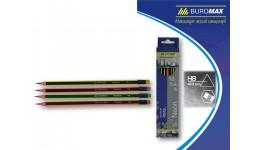 Олівці BUROMAX 8508 графітові з гумкою  НВ тригранні 2 2мм  НЕОН   карт. коробка (12/2880)