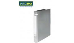 Папка накопичувач BUROMAX 3161-09 А4 з 2-ма кільцями  пластик. 35мм СІРА (1/24)