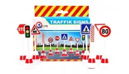 Дорожні знаки набір   ТехноК 120х158х45мм 7 основних дорожніх знаків