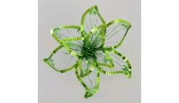 декоративна прикраса YES 750302 КВІТКА Пуансетії  Розкіш  зелена  напівпроз. 23*23см (1)