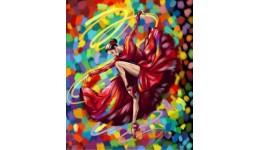 Картина за номерами на полотні 40см*50см № 5 Танцівниця в червоному з фарбами  ДТ(1/10)