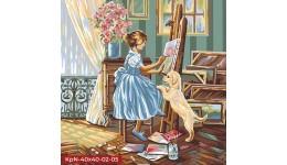 Картина за номерами 40см*40см економ № 5 Кінь  PAINTING BY NUMBER  з фарб.ДТ(1/10)