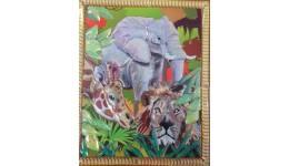 Вітраж-пазл: Слон  жираф  лев (17 5*18 5см)
