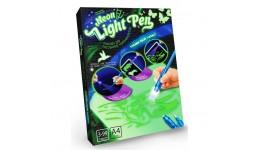 Дошка для малювання ультрафіолетом 02NEON Light Pen Кіт A4 (2 картинки+трафарет+ручка)ДТ
