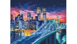 Картина за номерами на полотні 40см*50см №10 Нічне місто з фарбами ДТ(1/10)