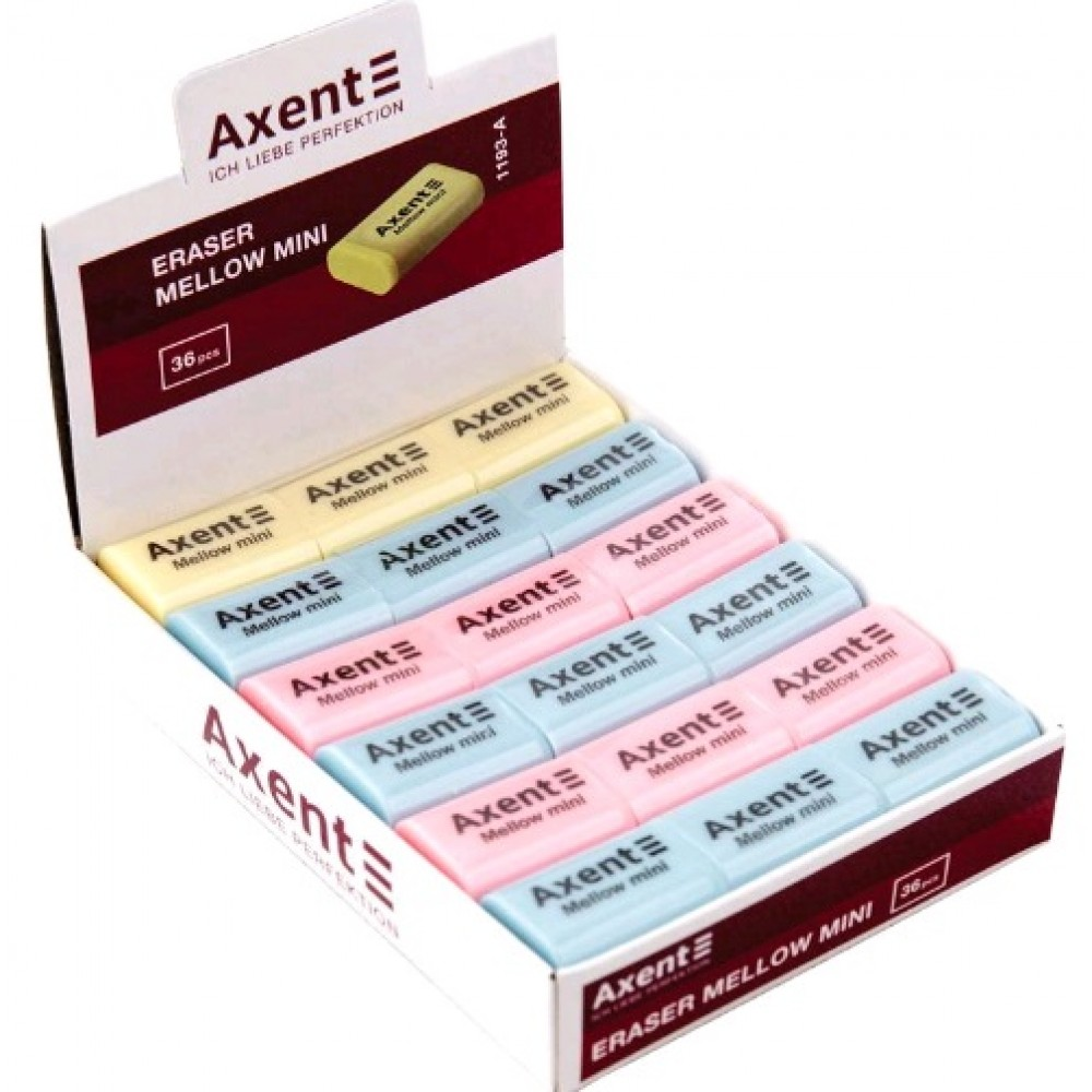 Гумка AXENT 1193 м`яка Mellow mini (36шт)