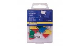 Кнопки BUROMAX 5152 гвіздки 30шт кольорові прапорці пласт. контейнер (1/10/360)