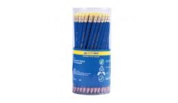 Олівці BUROMAX 8514-100 графітові з гумкою  HB  в тубусі   пластиковий   синій(100/600)