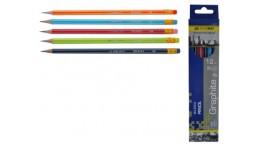Олівці BUROMAX 8503 графітові з гумкою  НВ з білою полоскою  карт. коробка (12)
