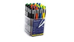 Ручка кульк. автомат. BUROMAX 8202 синя 0 7мм  прозора (40)