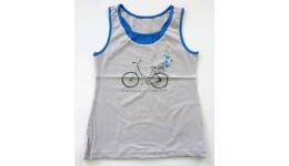 Майка /Велосипед/для девочек супр. лайкр серый светлый+синий  р.146 ТМ РОБІНЗОН