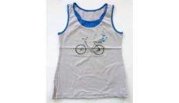 Майка /Велосипед/для девочек супр. лайкр серый светлый+синий  р.152 ТМ РОБІНЗОН
