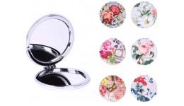 Аксессуари Дзеркальце M-45 металеве  7 5-7 5-1 5см  квіти  12шт (6видів) в дисплеї  24-9-12 5см