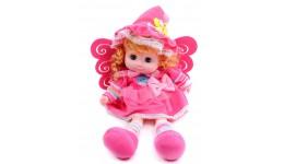 Лялька м`яконабивна  43x24x10см Відкриваються очки  на батарейках  звучать маледії
