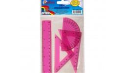 Набір: БАРВІНОК 9-601-12 пластик (лінійка 15см+ 1 трикутника+транспортир) рожевий.  (1/24)