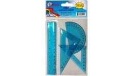 Набір: БАРВІНОК 9-601-06 пластик (лінійка 15см+ 1 трикутника+транспортир) синій  (1/24)