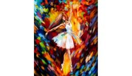 Картина за номерами на полотні 40см*50см № 6 Балерина в білому з фарбами ДТ(1/10)