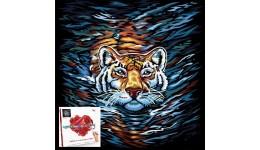 Картина за номерами на полотні 40см*40см № 3 Тигр з фарбами  ДТ(1/10)