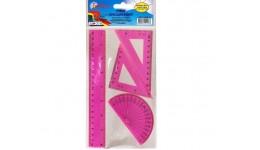 Набір: БАРВІНОК 9-602-12 пластик (лінійка 20см+ 1 трикутника+транспортир) рожевий.  (1/24)