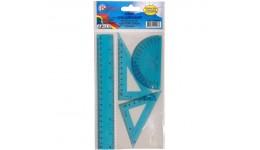 Набір: БАРВІНОК 9-602-06 пластик (лінійка 20см+ 1 трикутника+транспортир) синій (1/24)