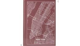 Канцелярська книга А4 AXENT 8422-543-А  Maps New York 96арк кліт  рожево-коричневий