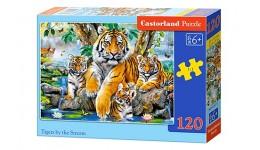 Пазл Касторленд  120 midi Тигри біля струмка