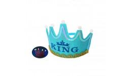 Аксессуары для праздника MK 2992 обруч для волос  корона  свет БЛАКИТНИЙ КОЛІР  бат  в кульке