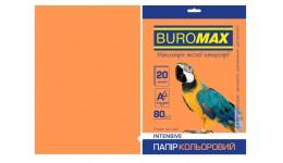 Папір д/друку кольор. А4  20арк BUROMAX INTENSIVE помаранчевий 80г/м2 (1/150)