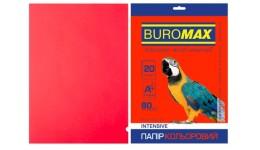 Папір д/друку кольор. А4  20арк BUROMAX INTENSIVE червоний 80г/м2 (1/150)