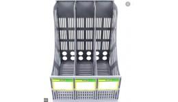 Лоток для паперів 4OFFICE 4-402 вертикальний СІРИЙ на 3 відділення (1)