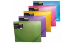 Папка на гумках А4 SCHOLZ 10507 прозора пластик. кольоровий мікс 550мкн (1)