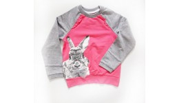 Кофта  Кролик з бантиком  Двухнитка 100% бавовна бузок+сірий р.116 ТМ РОБІНЗОН