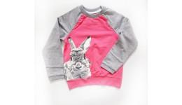 Кофта  Кролик з бантиком  Двухнитка 100% бавовна 116 122 128 Меланж+рожевий ТМ РОБІНЗОН