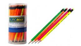 Олівці BUROMAX 8524 графітові з гумкою НВ   ESTILO  туба (48)