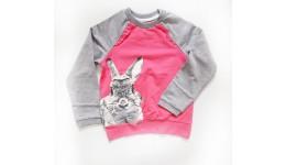 Кофта  Кролик з бантиком  Двухнитка 100% бавовна 116 122 128 Пудра+меланж ТМ РОБІНЗОН