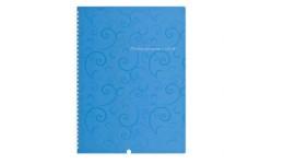 Блокнот А4 BUROMAX 80арк. 2446-614 клітинка бок. пруж.   Baroco  пласт. обкл. блакитний (1/5)