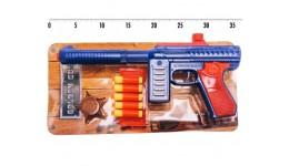 Автомат з м`якими кулями 909 М60 ПФ з нагрудним значком (4 кулі)  планшет 34*16 5 см