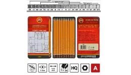 Олівці графіт. KOH-I-NOOR 1500 різної твердості  (HB-10Н) 12шт ТЕХНІК (1)